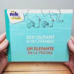 Een olifant in het zwembad - cover met Spaans - tweetalig kinderboek van nik-nak