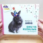 Konijn is jarig - cover met Swahili - tweetalig kinderboek van nik-nak