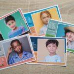 set 5 tweetalige postkaarten kinderen